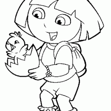 Dora Easter Printable Coloring Page 350x350