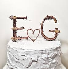 Rustic Monogram Wedding Cake Topper Personalized Any Two Letters And A Heart
