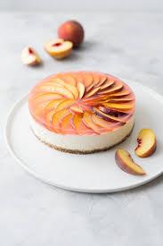 veganer no bake lemon cheesecake mit pfirsich spiegel backbube