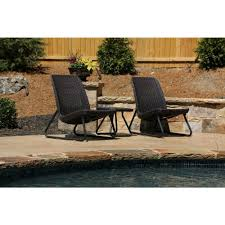 Patio Furniture Conversation Sets Home Depot by Keter Rio Brown 3 Piece All Weather Patio Seating Set 212867 The