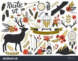 Vector Rustic Set With Deer Eagle Mountains Dream Catcher Lantern Ribbon