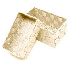 aufbewahrungskörbe im 2er set badkörbchen beige rechteckige regalkörbe größen 19x10x7 cm und 20x13x10 cm