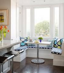 Home OrganizationRetro Style Dining Room Decorations With Small Blue Upholstered Banquette Corner Berakfast Nook