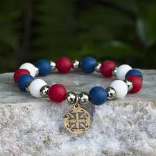 Rustic Cuff 4th Of July Erin Red White And Blue In Gold