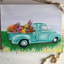 Vinatge Farm Flower Truck Painting Fresh Vintage