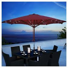 Target Patio Set With Umbrella by Patio Umbrella With Solar Power Led Lights Red Corliving Target