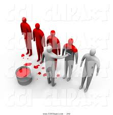 Clip Art of a Row of 3d People Being Painted Red to Be e the Same
