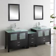 Small Double Sink Vanity Dimensions by Black Wooden Vanity With Double Oval Sink On The White Marble