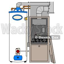 Clipart Illustration Of A Furnace And Water Heater In Residential Home The Cover Off By Djart