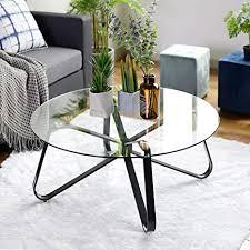 runder couchtisch aus gehärtetem glas nordischer minimalistischer sofatisch moderner beistelltisch mit eisenschwarzem sockel für zuhause