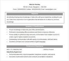 Sample Data Entry Supervisor Resume Objective