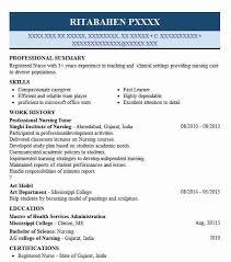Professional Nursing Tutor Resume Sample