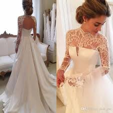 Discount 2017 Gorgeous Long Sleeve Wedding Dresses With Sheer Neck Jewel Sexy Open Back Bridal Gowns Satin Vintage Dress Lace Top Cheap Affordable