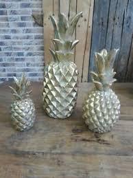 details zu moderne deko ananas 33 46 oder 62 cm hoch vintage gold wohnzimmer flur büro