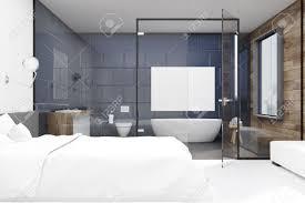 schlafzimmer interieur mit einem großen doppelbett und ein badezimmer mit glas und grauer wand 3d rendering mock up