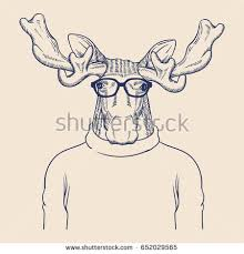 Hipster Animal Illustration Stock Vector 652029559