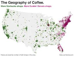 Coffee Shop Geography Starbucks Vs Dunkin Donuts In The US OC 2302x1760