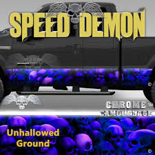 100 Speed Demon Trucks Skull Truck Rocker Panel WrapsBlue With Purple Hue Skulls