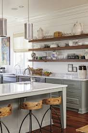 long wooden planks for open shelving in a south carolina home by