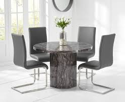 Crema Grey Round Marble Dining Table With Malaga Chairs ...