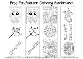 Free Fall Autumn Coloring Bookmarks