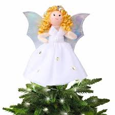 OurWarm Christmas Tree Topper Decorations Angel Ornament Top Ornaments Navidad Gift