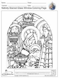 Christmas Colouring Project Nativity Stained Glass Coloring Page