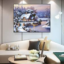 100 River House Decor US 1092 48 OFFMeian Cross Stitch Embroidery Kits 14CT Season Cotton Thread Painting DIY Needlework DMC New Year Home VS 142in