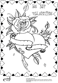 Bbeautiful Rose Heart Valentine Coloring Pages For Adults FREE Download
