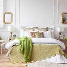 Elegant Beige Green Bedding Zara Home Bedroom Decor Ideas Round Bedside Tables