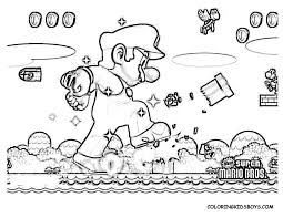Action Coloring Pages Mario Bros