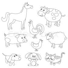 Cute Cartoon Farm Animals And Birds For Coloring Book Outline Vector With Adjustable Stroke Black White Version