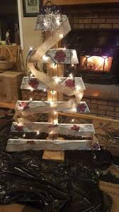 Red Snowflakes Burlap And White Pallet Christmas Tree