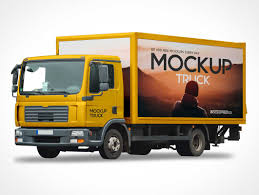 100 Free Truck Box Cargo Van Delivery Cab PSD Mockup PSD Mockups