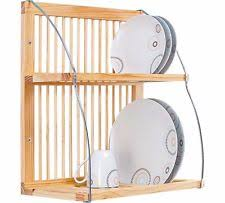 Wooden Plate Rack Stand Kitchen Shelf Wall Mounted Holder Display Cup Bowl