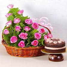 Basket Arrangement of 18 Pink Roses with Fresh Cream Chocolate Cake
