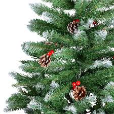 Silver Tip Christmas Tree Artificial by 7ft Green Christmas Tree With Snow Tips Red Berries U0026 Natural