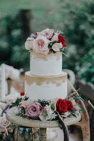 Wedding Cake Rustic Flowers Auckland Gold