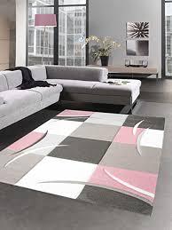 carpetia designer teppich karo pastell rosa creme braun größe 200 x 290 cm