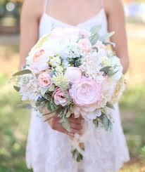 Silk Bride Bouquet Cream And Pale Pink Roses And Peonies