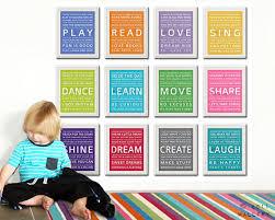 Word Art Wall For Kids Playroom Prints Children