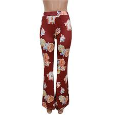 Top Sell Summer Spring Women Floral Printed Bell Bottom Pants Flare Ladies Casual Full Length