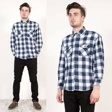 Image Is Loading MENS VINTAGE BUFFALO BLUE CHECK PLAID CASUAL GRUNGE