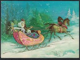Leanin Tree Horse Christmas Cards by Pink Sleigh Romantic Couple Snowy Blue Forest Large 1976 Vintage