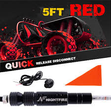 Amazon.com: NF NIGHTFIRE 5FT LED Whips Red Lighted Whips For RZR ATV ...
