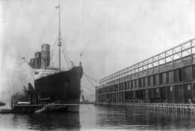 When Did Germany Sink The Lusitania by Lusitania Arriving At Pier 54 In New York City 1908 Lusitania