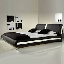 Naples Modern Black And White Leather Bed Luxury Leather Beds