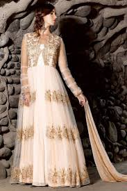 cream with golden embroidery net georgette semi stitch traditional