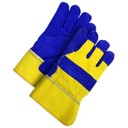 Bob Dale Men's Split Leather Work Gloves - Blue & Gold, X-Large