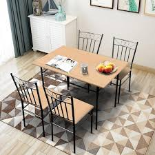 2019 Black Dining Table Set 4 Person Home Kitchen Table Chairs Wood Metal  Dining Room Breakfast Furniture From Greatfurnishing, $193.33   DHgate.Com Steel Ding Room Chairs Kallekoponnet Modern Narrow Table Set Cute With Photo Of 36 Round Natural Laminate With Xbase And 4 Ladder Back Metal Black Vinyl Seat 2 Ding Tables 8 Chairs In Metal Black Retro Design Square Walnut Grid Barstools Amazoncom Shing Wood Laneberg Svenbertil Brown Lucano Marble Leather Mesmerizing Iron Legs Reclaimed Base 5 Piece Kitchen Tag Archived Of Polyurethane Likable Pcs Table